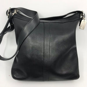 COACH Black Leather Flat Crossbody Bag